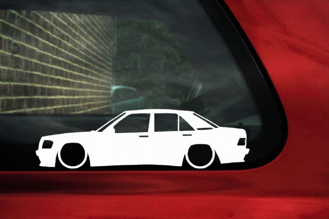 2x LOW Mercedes 190e W201 AMG , 16v,2.5 ,2.6 outline Silhouette stickers, Decals